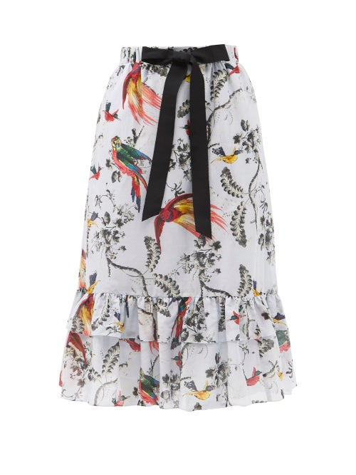 Erdem - Vacation Corsica Parrot-print Cotton-blend Skirt - Womens - Blue Multi