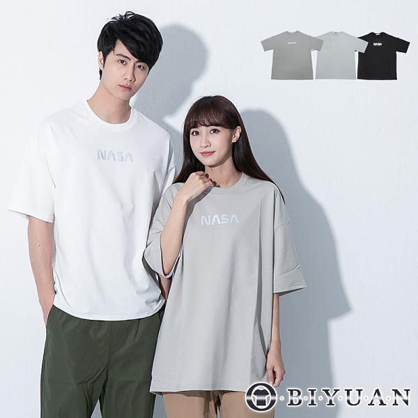 【OBIYUAN】短袖t恤 衣服 韓國製 反光 字母 情侶款 寬鬆 落肩上衣 3色【F10009】