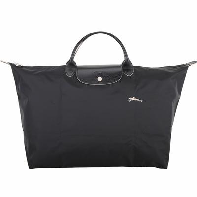 LONGCHAMP Le Pliage 奔馬刺繡短提把折疊旅行袋(L/黑色)