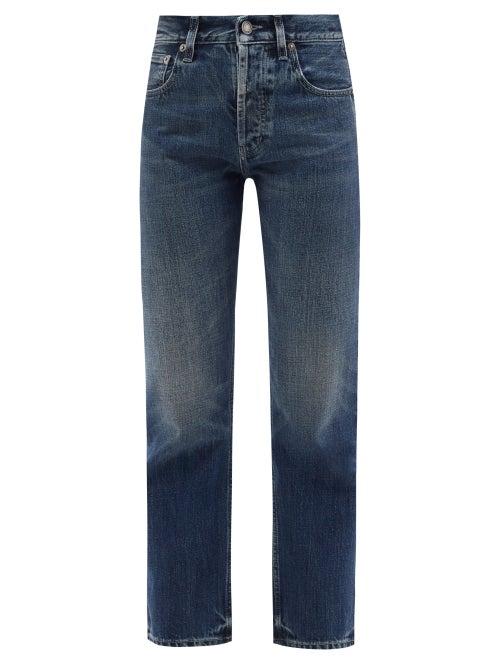 Saint Laurent - Distressed Straight-leg Jeans - Womens - Dark Denim