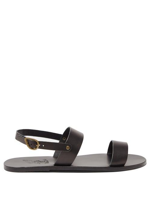 Ancient Greek Sandals - Cleon Leather Sandals - Mens - Black