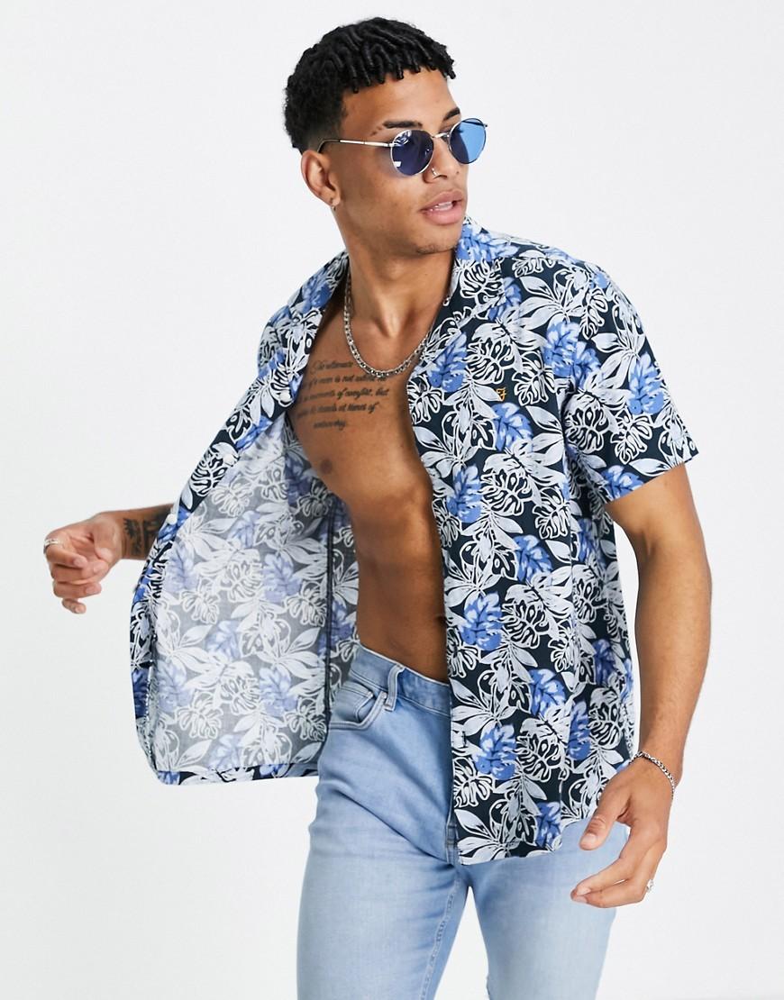 Farah Oasis print shirt in blue