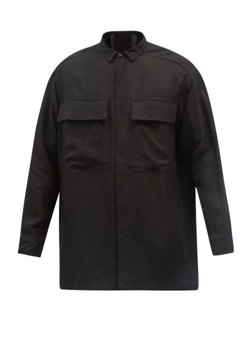 Fear Of God - Flapped-pockets Crepe Shirt - Mens - Black