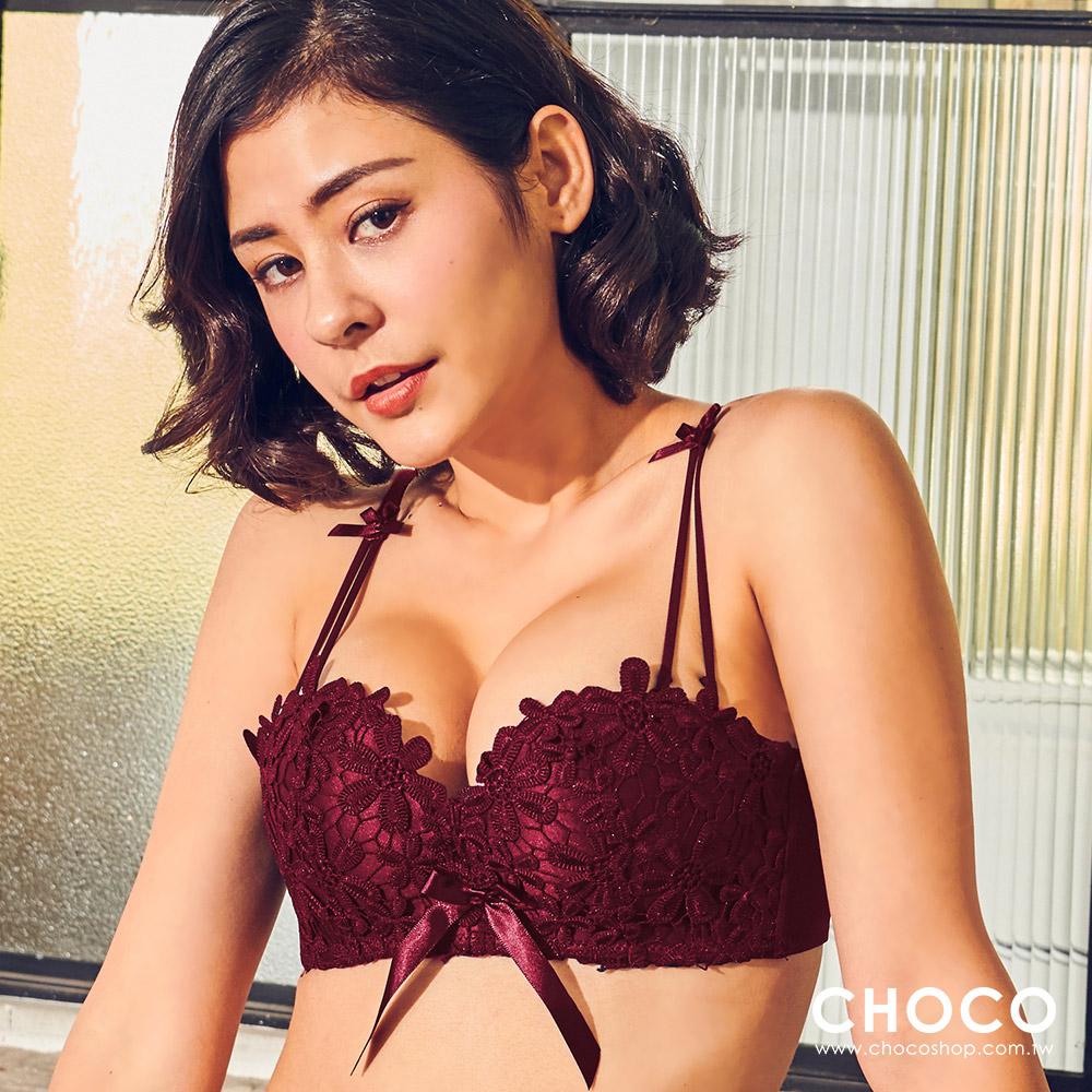 花神維拉‧蕾絲花蕾無鋼圈飽滿深V內衣(紅色) 70B~85D Choco Shop