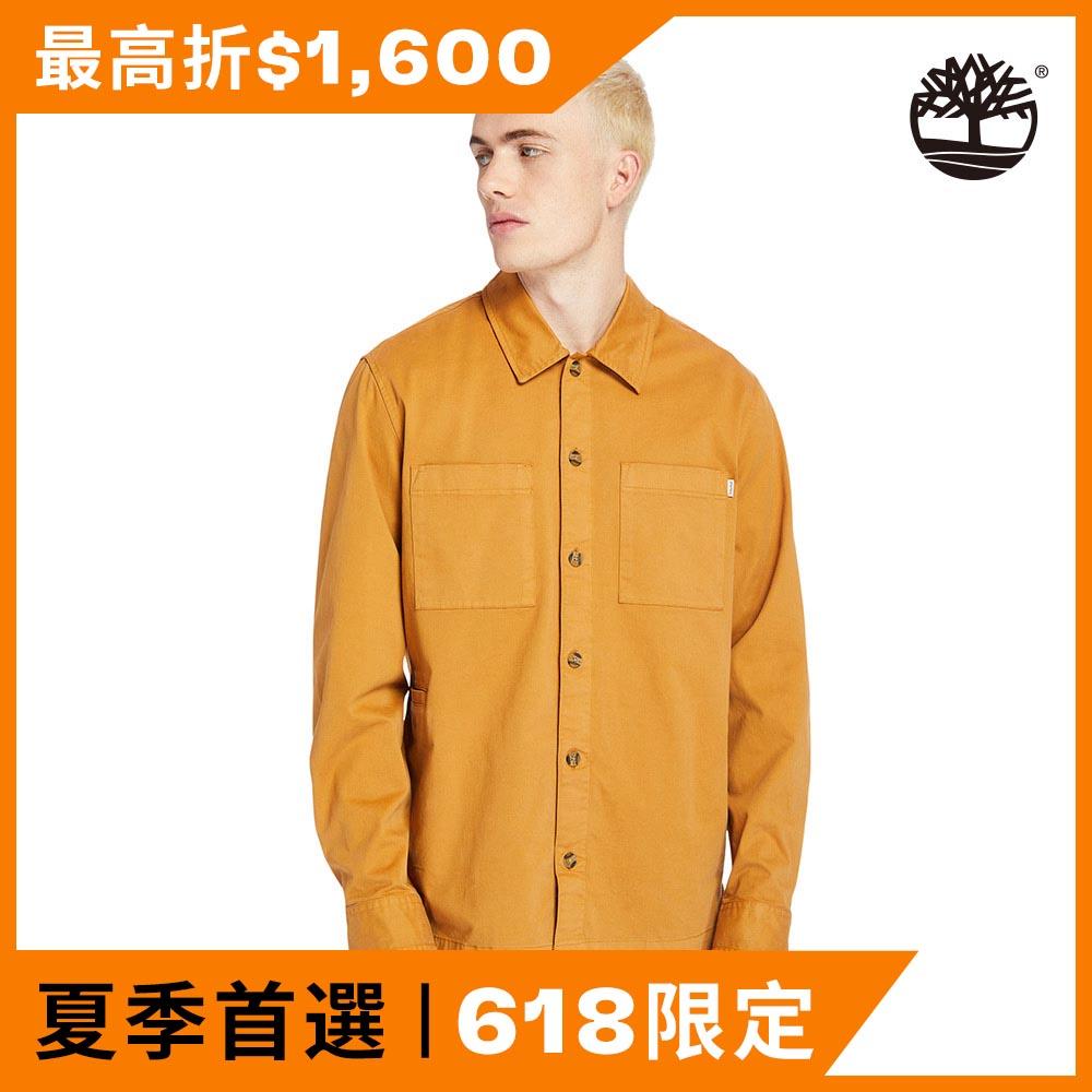Timberland 男款小麥色有機棉寬版長袖襯衫|A2518P47
