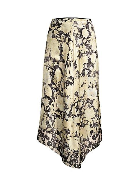 Gold Leaf Floral Silk Midi Skirt