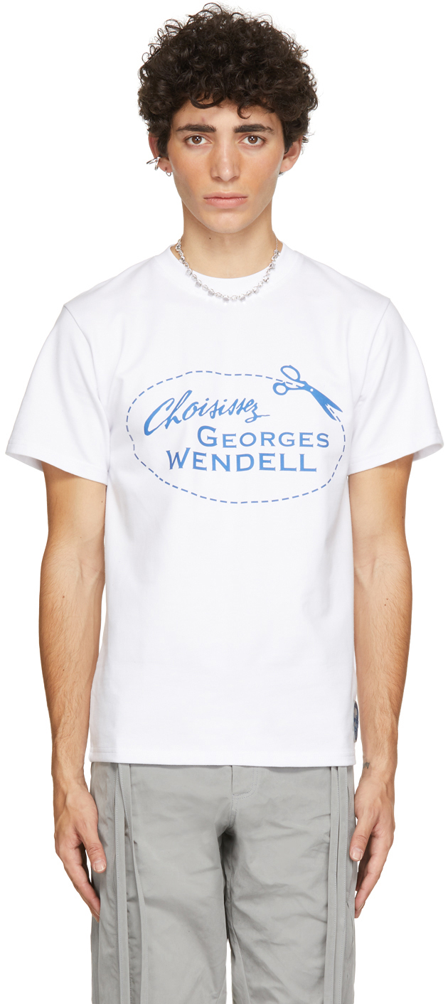 Georges Wendell 白色徽标 T 恤