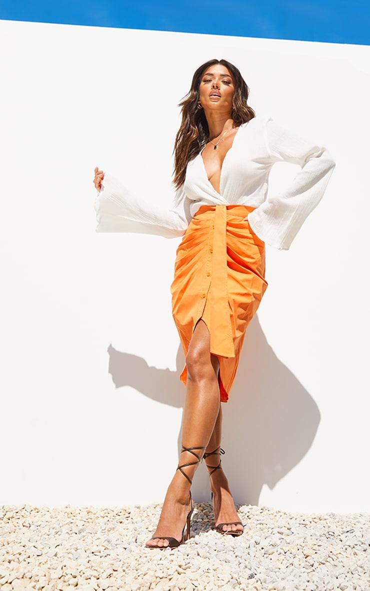 Orange Foldover Button Through Midi Skirt