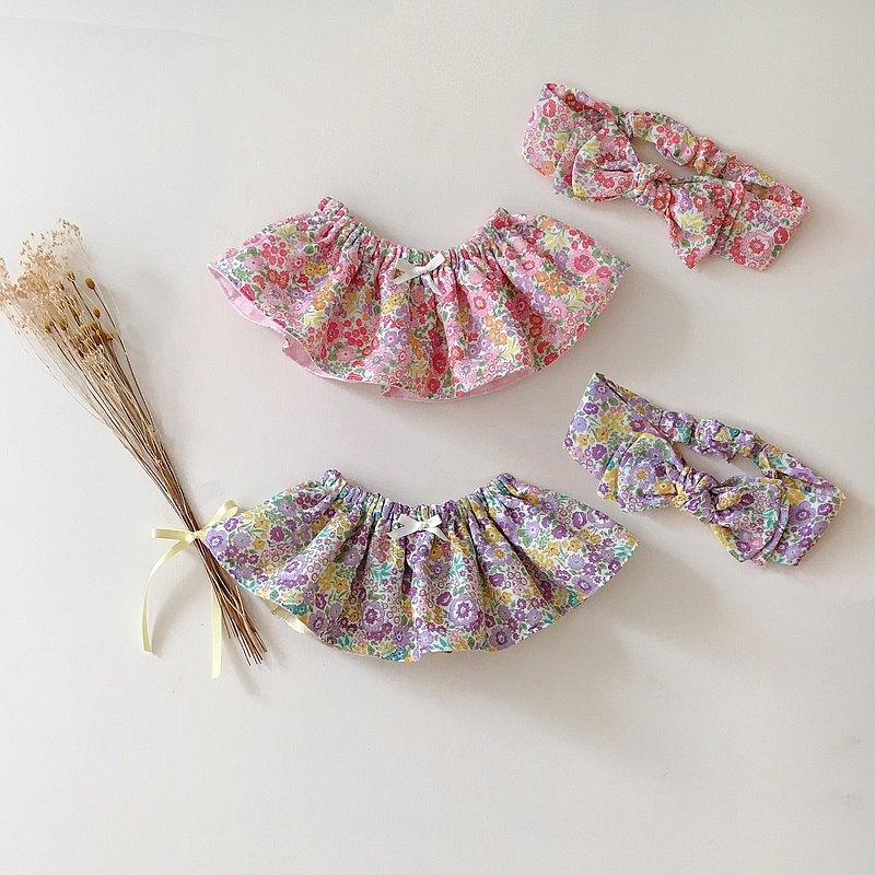 圓形荷葉圍兜/兩面用/日本二重紗/雙層立體髮帶/彌月禮盒