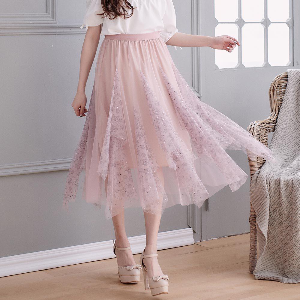 雪花水鑽不規則鬆緊紗裙長裙