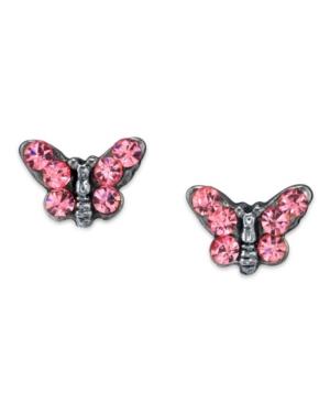 2028 Silver Tone Crystal Butterfly Stud Earring
