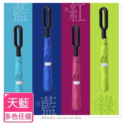 Life+ 靓彩活力時尚 100%黑膠降溫快扣兩折自動傘 (天藍)