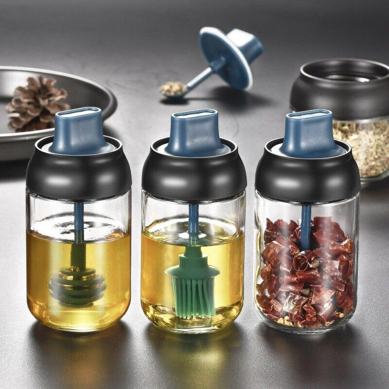 調味罐玻璃鹽罐廚房調料罐子家用調料瓶糖罐油壺鹽味精調料盒套裝