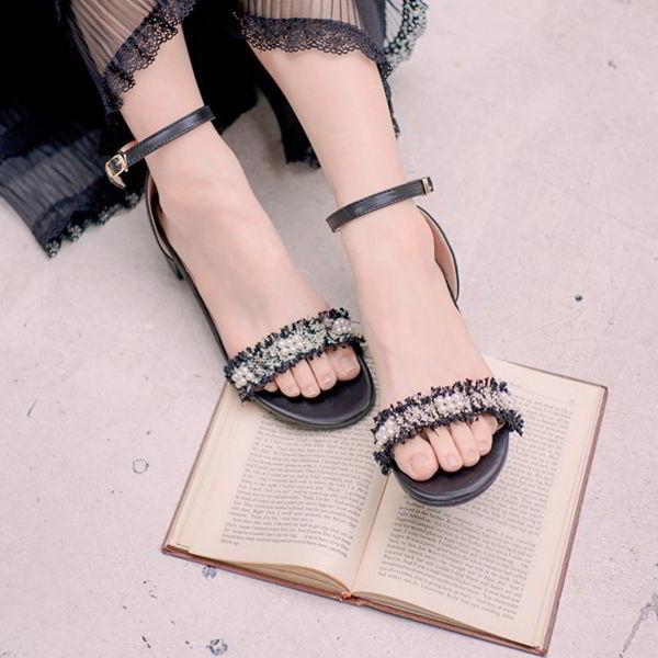 小香風繫踝粗跟低跟涼鞋