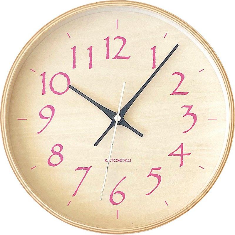 KATOMOKU plywood clock 21 M尺寸 淺粉色 (km-120LP) 掛鐘 日本