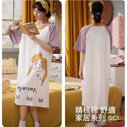 SCL家居服飾 女孩圖樣舒適長版洋裝上衣裙