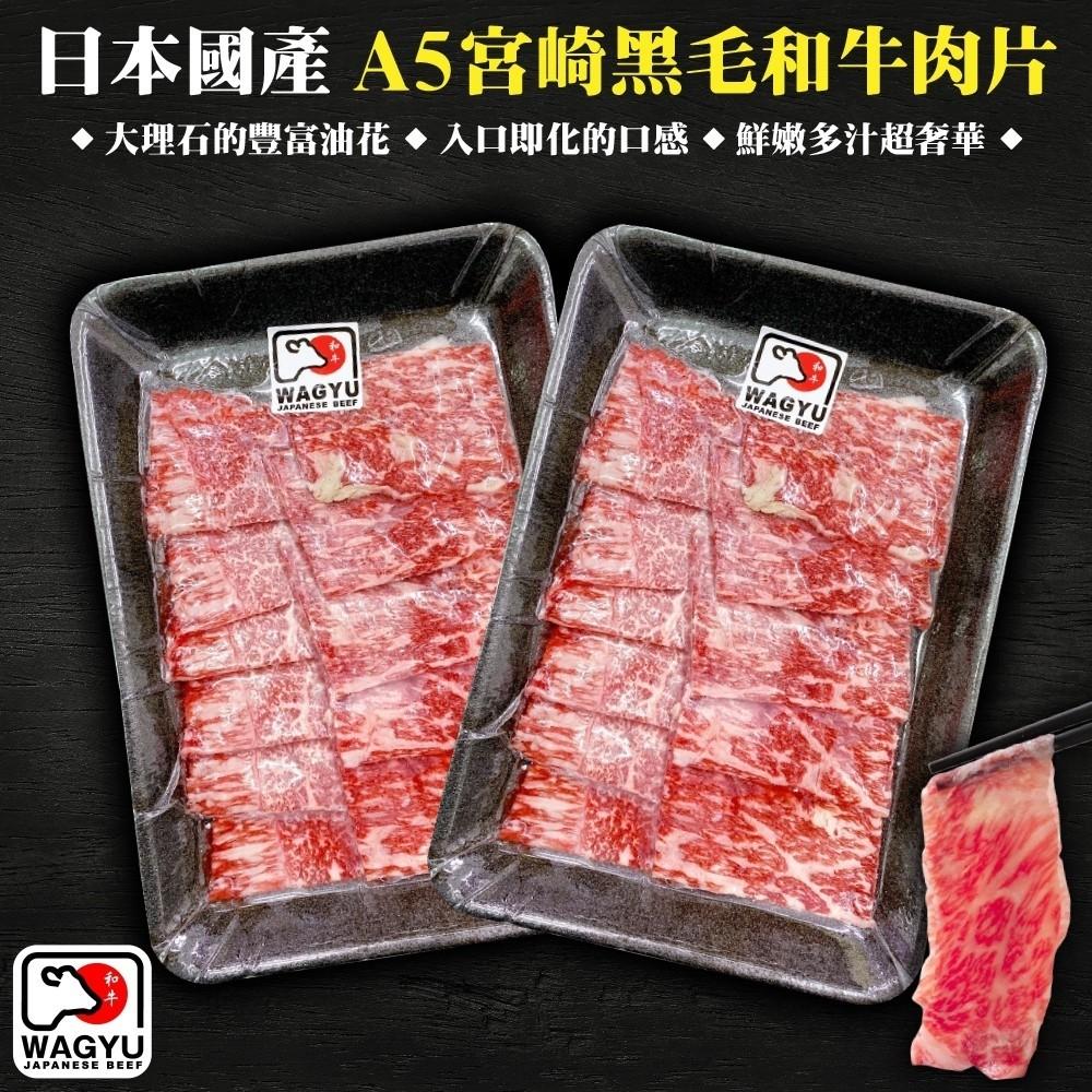 【買1送1-海肉管家】日本宮崎牛和牛霜降肉片(100g±10%/盒_共2盒)
