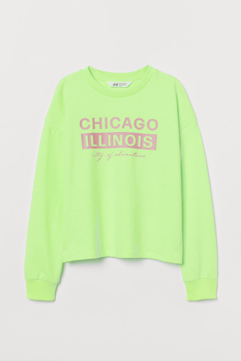 H & M - 圖案運動衫 - 綠色