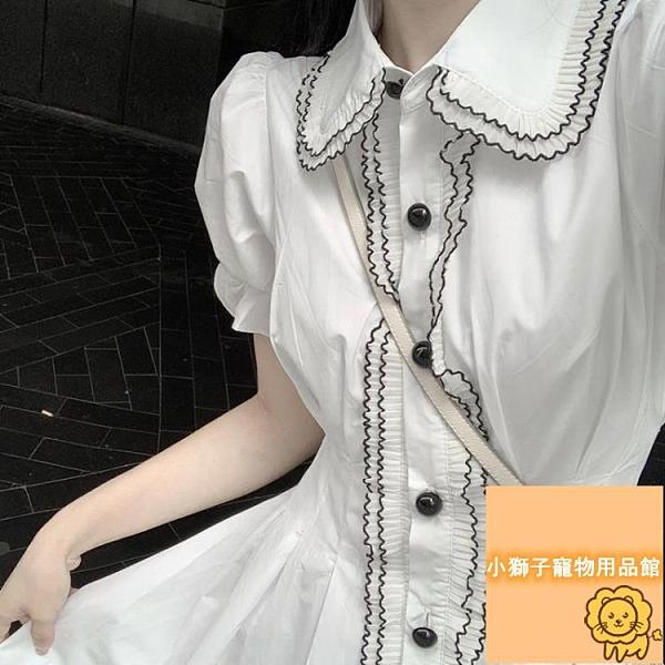 顯瘦百搭泡泡袖白色連衣裙女夏復古夏季連身裙女【小狮子】