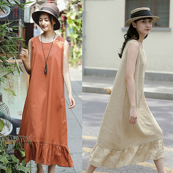 升級版高端細亞麻洋裝無袖長裙4色/設計家 Q210309