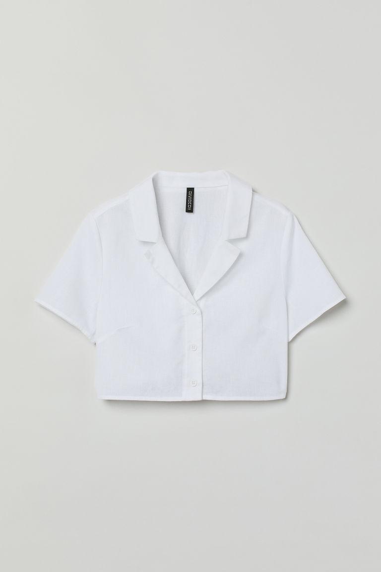 H & M - 短版襯衫 - 白色