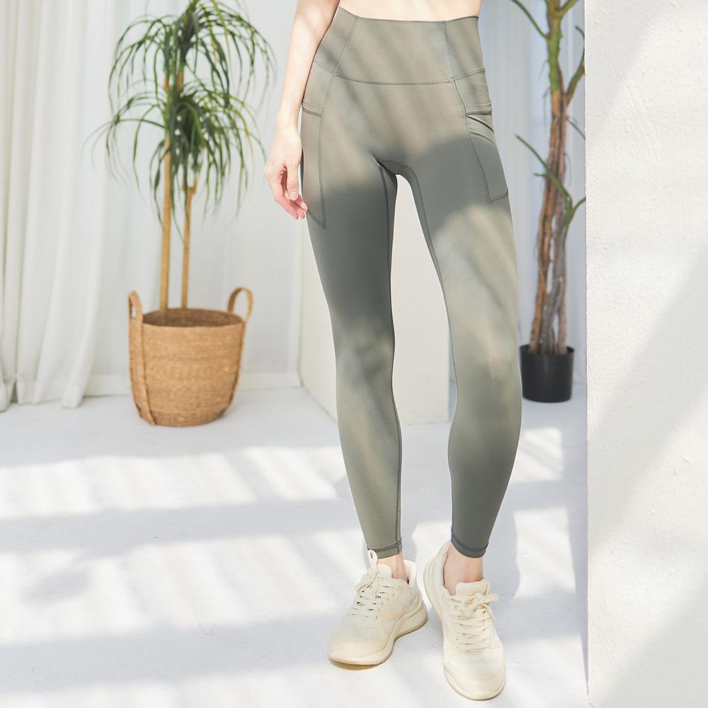 Seamless 無縫款側邊口袋高腰九分運動褲-深墨綠