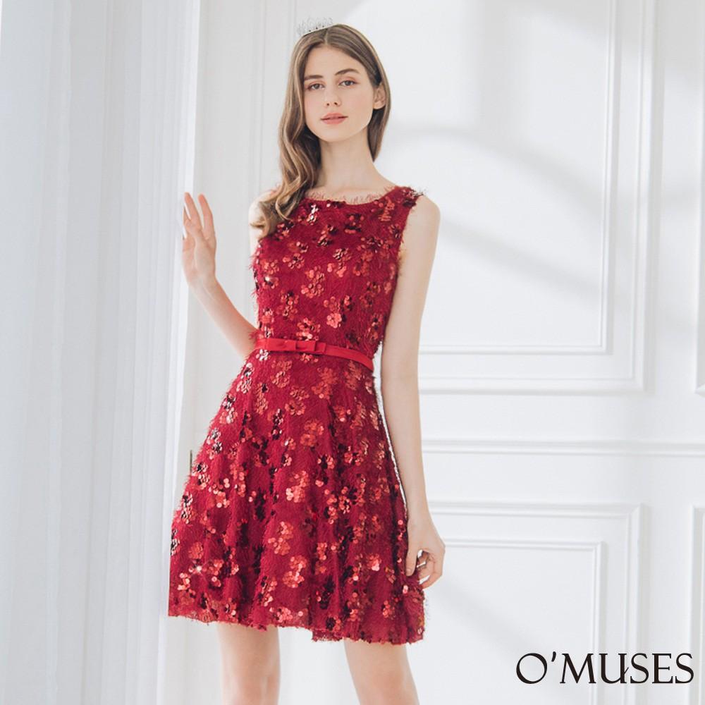 【OMUSES】流蘇毛海亮片紅色短禮服18-319-1