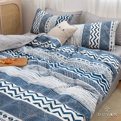 DUYAN竹漾 舒柔棉-雙人加大床包被套四件組-青風小築 台灣製