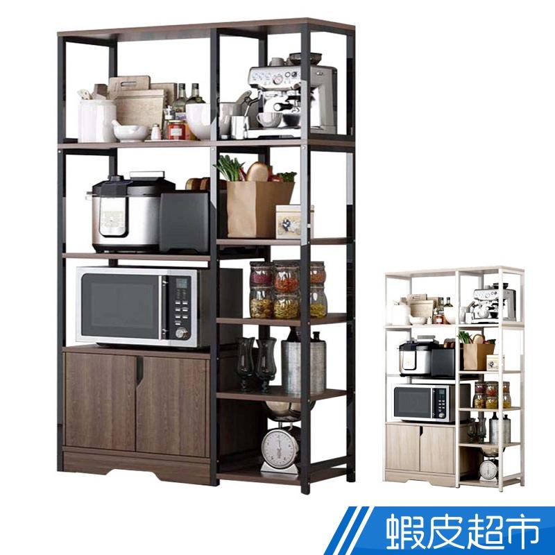 慢慢家居 廚房多層大容量落地置物架 電器架 (90x34x142cm) 黑橡木 櫻楓木 置物架 收納 廠商直送 現貨