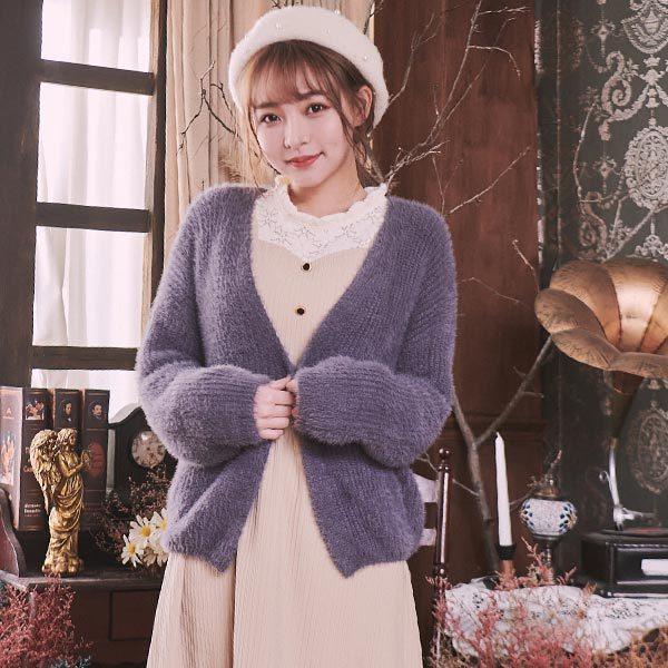 絨毛開襟針織外套