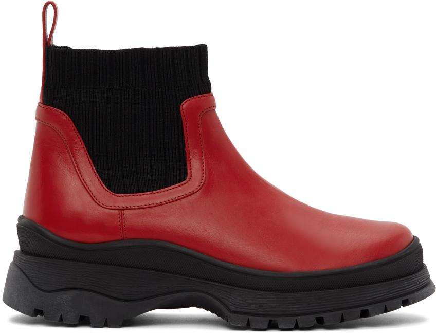 Staud 红色 & 黑色 Bow 踝靴
