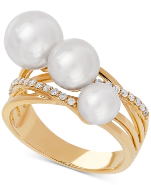 Honora White Cultured Freshwater Pearl (6, 7 & 8mm) & Diamond (1/6 ct. t.w.) Ring in 14k Gold