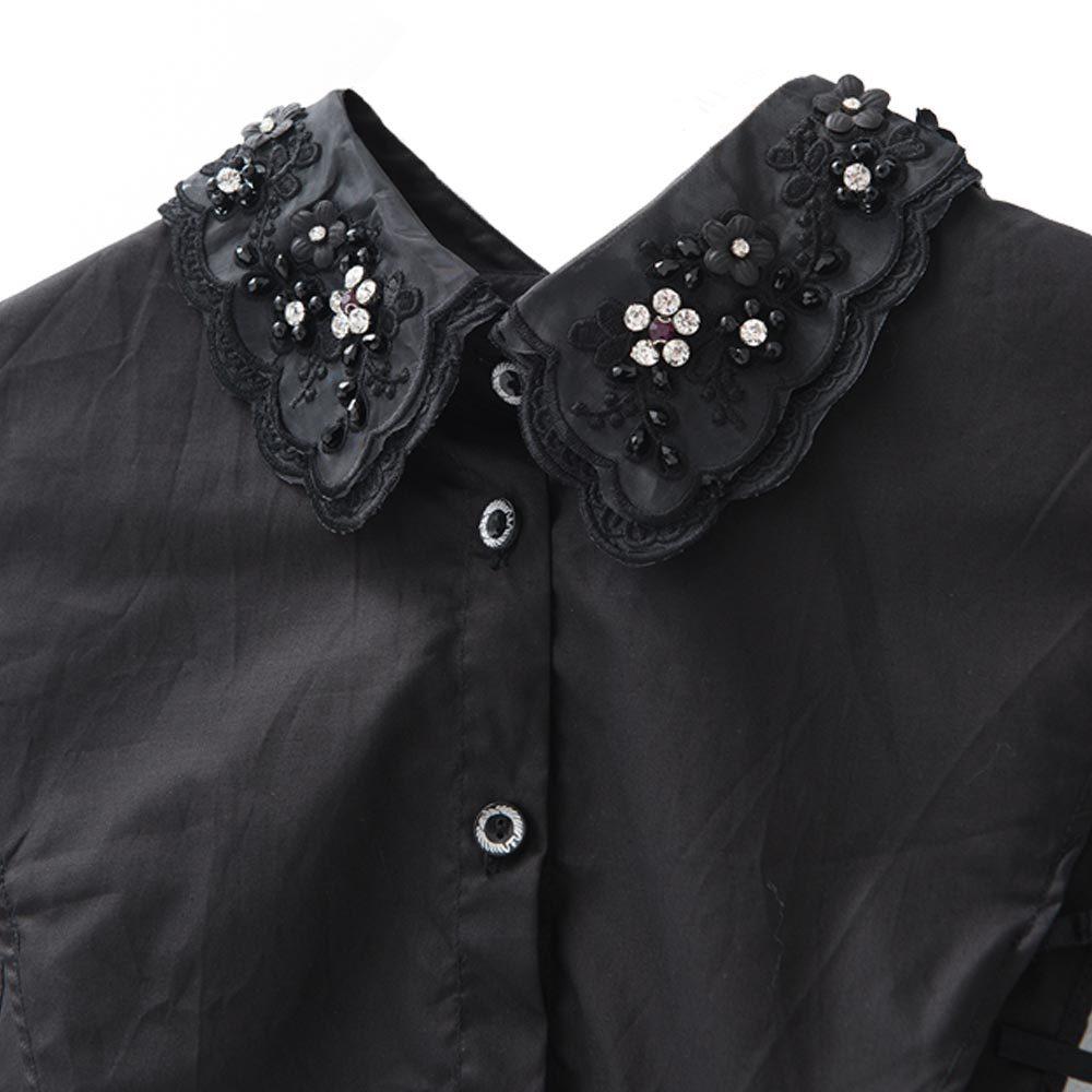 刺繡珍珠水鑽花朵歐根紗領襯衫假領子