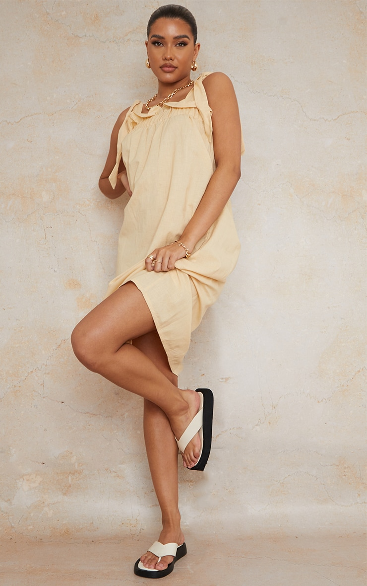 Stone Linen Look Tie Strap Ruched Smock Midi Dress