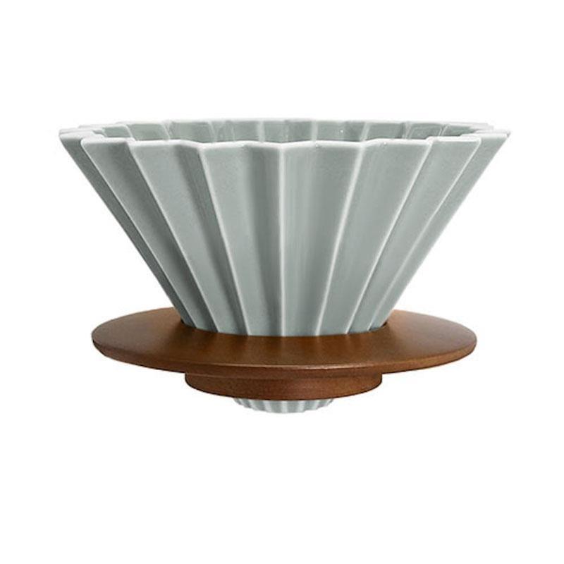 摺紙咖啡 陶瓷濾杯組 M 第二代(霧色系5色) 奶茶色+樹脂杯座