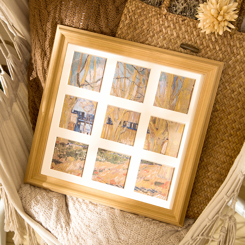 實木九宮格洗照片做成相框擺臺定制來圖定做相片組合兒童婚紗照