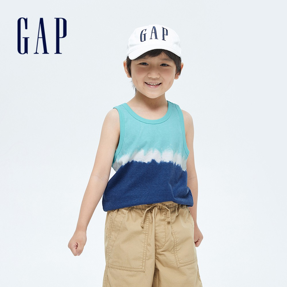 Gap 男童 活力紮染運動背心 682892-藍色紮染