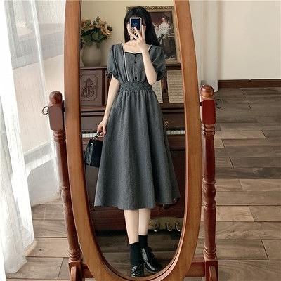 M-4XL大碼洋裝格子連身裙長裙女收腰顯瘦連身裙8582 3F018-A 胖妹大碼女裝