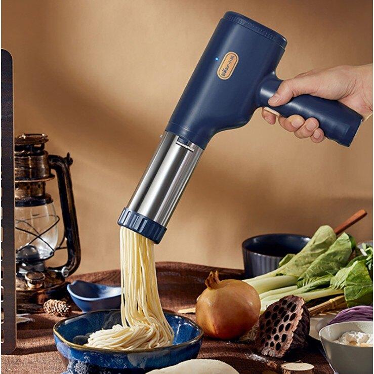 壓面條機 家用手持 無線不銹鋼 壓面桶 3種出面模具 麵條機 壓麵機 壓麵槍