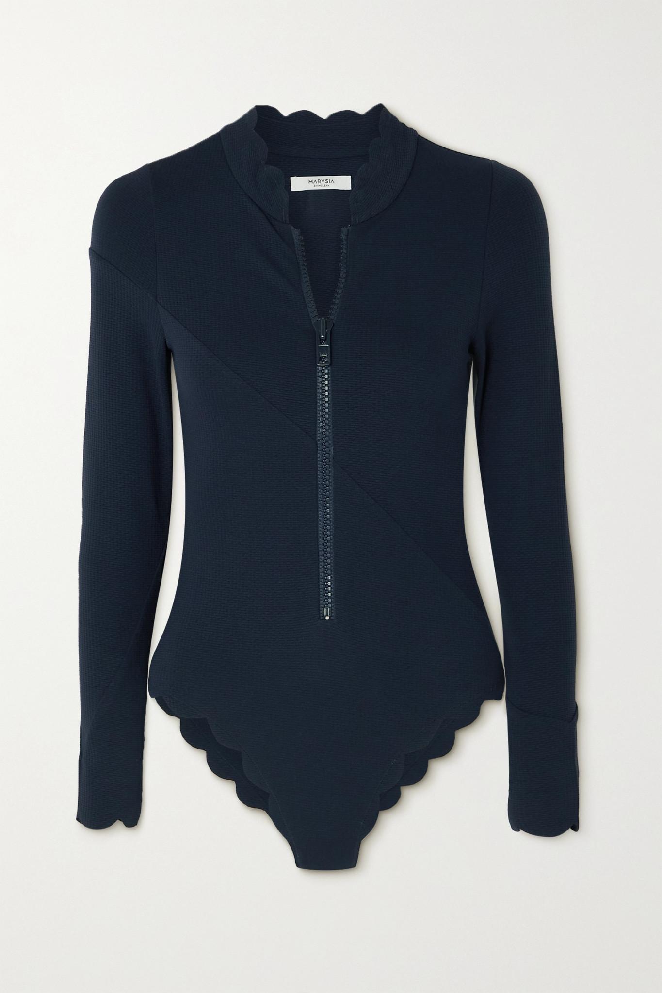 MARYSIA - + Net Sustain North Sea Scalloped Recycled Seersucker Swimsuit - Blue - x small