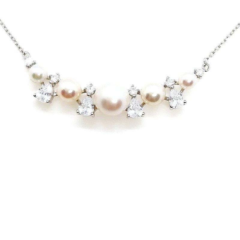 華麗多珠宮廷風鋯石4顆海水Akoya+1顆淡水珍珠純銀項鍊