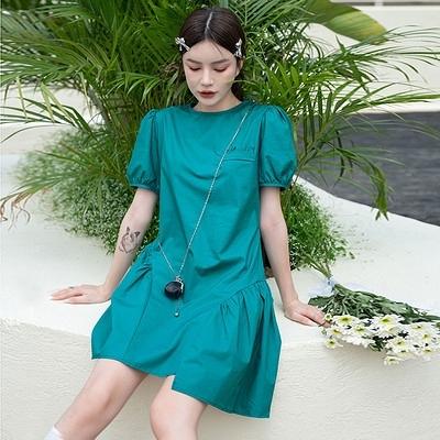 洋裝大碼連身裙孔雀綠寬松a字短裙甜系顯白泡泡短袖連身裙 2F-B40 胖妹大碼女裝