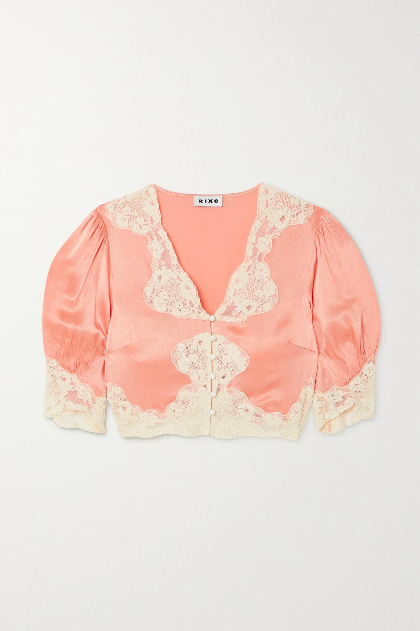 RIXO - Yasmin Cropped Lace-trimmed Hammered-satin Blouse - Orange - medium