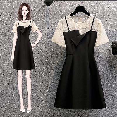 大碼洋裝TL-4XL法式氣質輕熟溫柔風a字裙收腰顯瘦假兩件連身裙子女MR26依佳衣