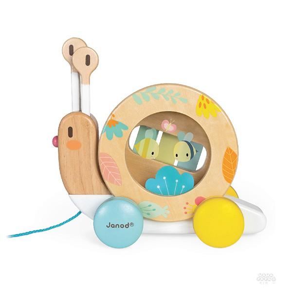 【法國Janod】寶寶異想世界-蝸牛敲擊拉車