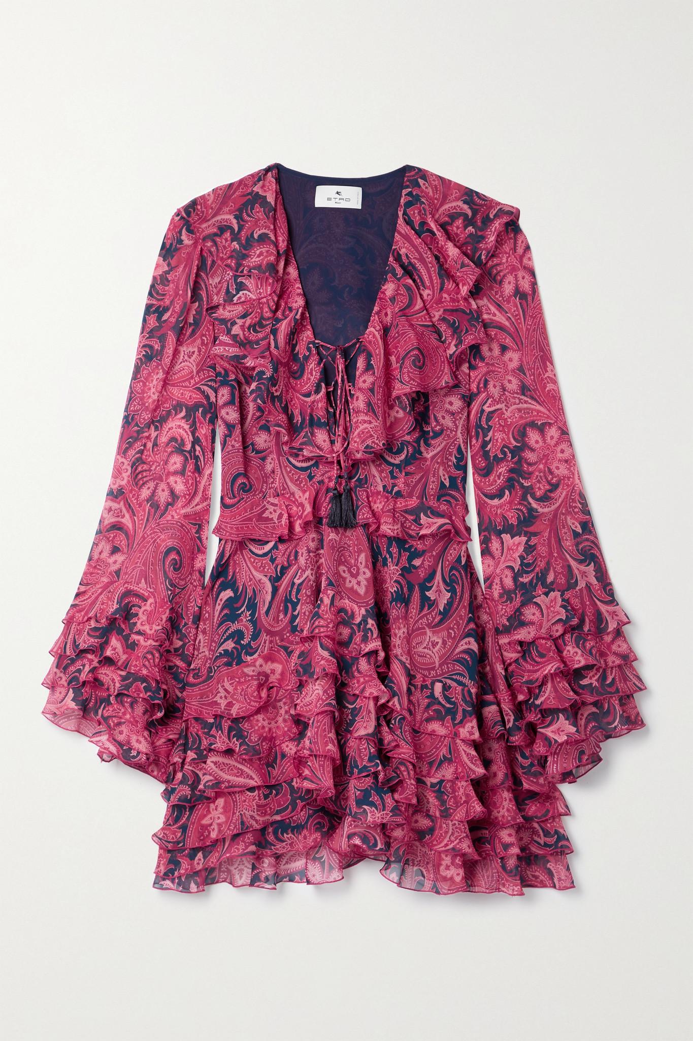 ETRO - Ruffled Paisley-print Silk-crepon Mini Dress - Pink - IT40
