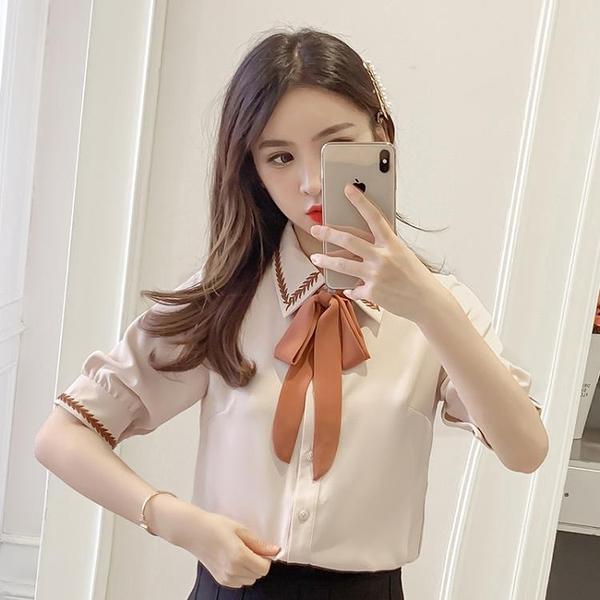 職業襯衫 雪紡襯衫女短袖2021夏裝新款韓版白色寬松學生百搭休閑職業裝襯衣