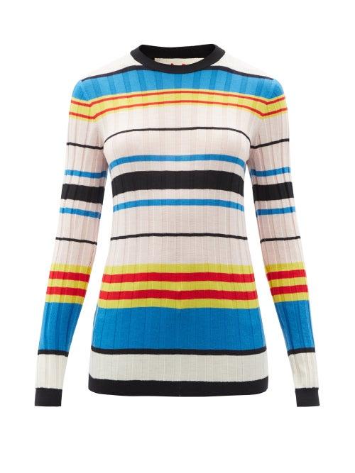 Marni - Striped Ribbed-knit Sweater - Womens - Multi