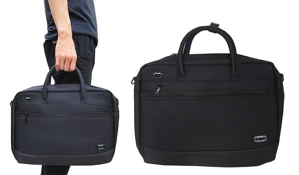 ~雪黛屋~SPYWAL 文件包中容量可A4資料夾主袋+外袋共三層防水尼龍底加大量布提肩斜側背SW9371