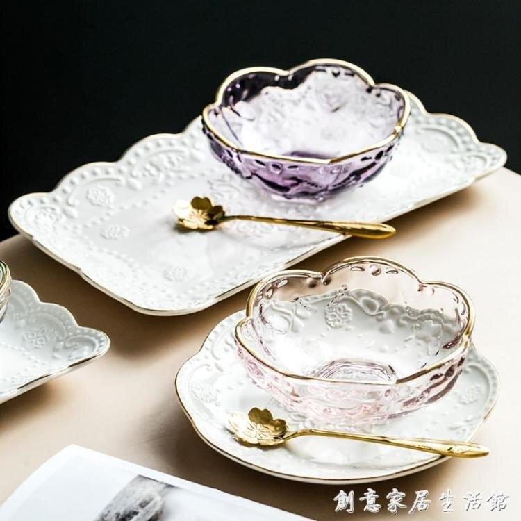 創意日式金邊櫻花玻璃碗 燕窩碗糖水銀耳湯碗盅雪糕沙拉碗甜品碗【林之舍】
